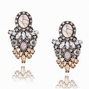 Earrings in Gold Settings w/ Beige Cracked Stones Clear and Beige Crystals Costume Jewelry JW93