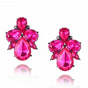 Angel Earrings in Gunmetal Settings w/ Fuchsia Stones Costume Jewelry JW95
