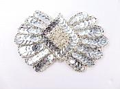 K1249 Silver Motif  Sequin Beaded  Applique 3.75""