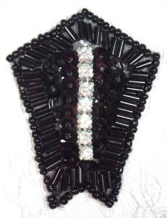 """0482 Black Rhinestone 2.25"""" Sequin Beaded Applique"""