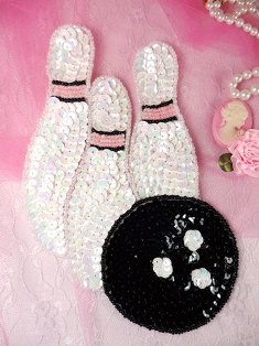 K310 Bowling Pin Beaded Sequin Applique 6.5""