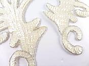 """RMK8101X White AB Silver Claw Mirror Pair 6.75"""" Sequin Beaded Appliques"""