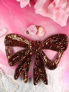 "K8140 Bronze Large Bow Sequin Beaded Applique 6.75"""