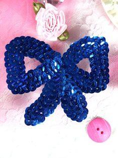 "K8140SB Royal Blue Bow Sequin Applique 3"""