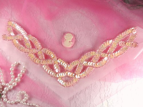 K8248 Pink Opaque AB Braided Collar Beaded Sequin Applique 8.75\