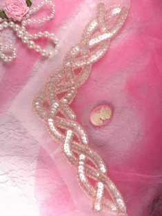 """K8248 Pink Crystal AB Braided Collar Beaded Sequin Applique 8.75"""""""