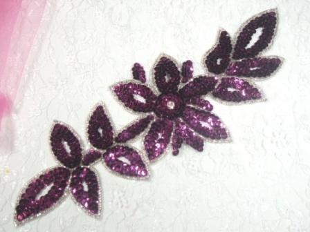 "K8383 Purple Wine Rhinestone Floral Vine Sequin Beaded Applique  11"""