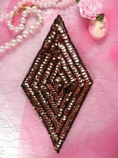 """K8385 Bronze Diamond Beaded Sequin Applique 5.5"""""""