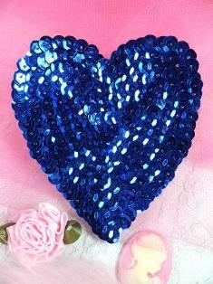 """K8395 Blue Heart Sequin Applique 3.5"""""""