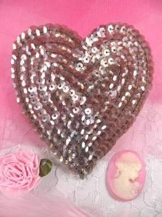 """K8395 Bronze AB Heart Sequin Applique 3.5"""""""