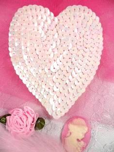 """K8395 Pink Opaque AB Heart Sequin Applique 3.5"""""""