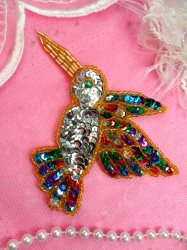 K9307L Hummingbird Applique Multi Colored Sequin Gold Beaded Bird 3""
