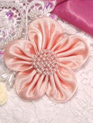L11  Peach Beaded Flower Applique 2.5""