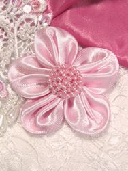 L11 Pink Beaded Flower Applique 2.5""