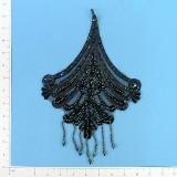 """Black Iris 12"""" Venise Lace Sequin Applique E143"""