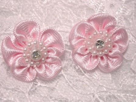 L15 Set of 2 Pink Rhinestone Flower Applique