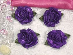 L22  Lot of 4 Purple Floral Rose Flower Appliques 1.5""