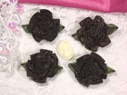 L22  Lot of 4 Brown Floral Rose Flower Appliques 1.5""