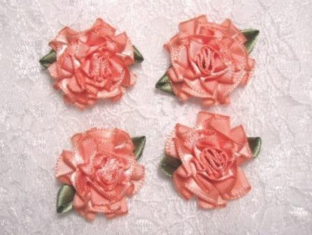 L22  Lot of 4 Peach Floral Rose Flower Appliques 1.5""