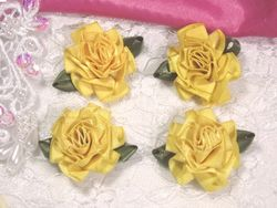 L22  Lot of 4 Yellow Floral Rose Flower Appliques 1.5""