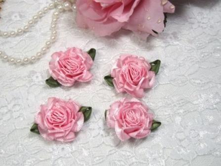 L22  Lot of 4 Pink Floral Rose Flower Appliques 1.5""
