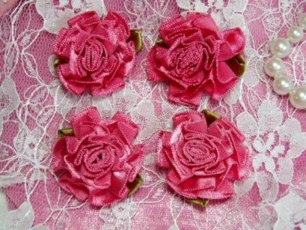 """L22  Lot of 4 Mauve Floral Rose Flower Appliques 1.5"""""""