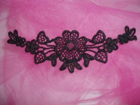 "L23 Black Venice Lace Yoke Collar Applique 5"""