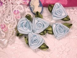 L27 Set of 5 Light Blue Ribbon Rose Appliques