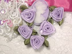 L27 Set of 5 Lavender Ribbon Rose Appliques