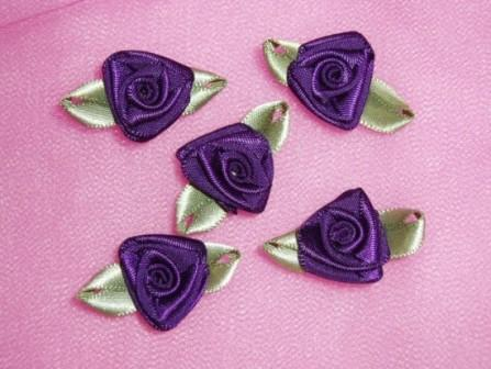 L27 Set of 5 Purple Ribbon Rose Appliques