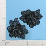 """Black Iris Venise Lace 3"""" Sequin Appliques E2703"""