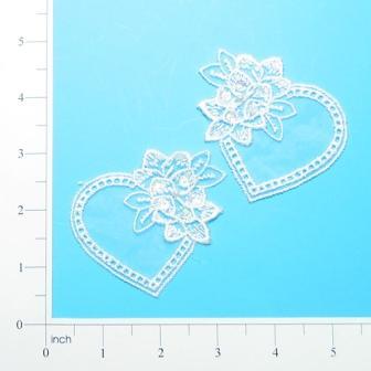 """E2704  White Heart Venice Lace Sequin Applique 2.75"""""""