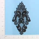 "Black Venise Lace 7.25"" Sequin Applique  E2707"
