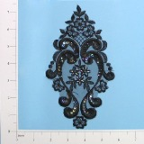 "Black Iris Venise Lace 7.25"" Sequin Applique  E2707"