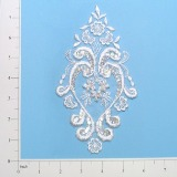 "White Venise Lace 7.25"" Sequin Applique  E2707"