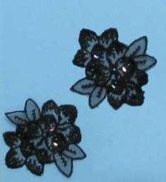 E2714 Black AB Venise Lace Mirror Pair Sequin Beaded Appliques
