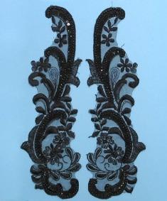 E2720  Black Venice Lace Pair Sequin Beaded Appliques