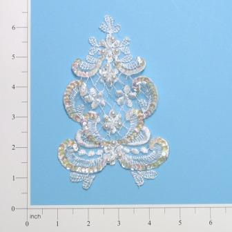 E2731  White Pearl Venise Lace Sequin Applique  6""