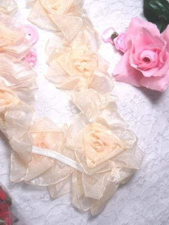 L28  Ivory Organza Floral Sewing Trim 2.5""