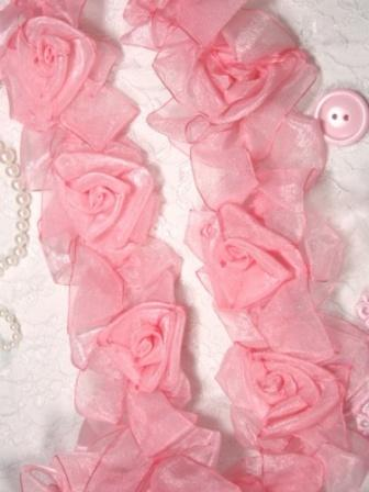 L28  Pink Organza Floral Sewing Trim 2.5""