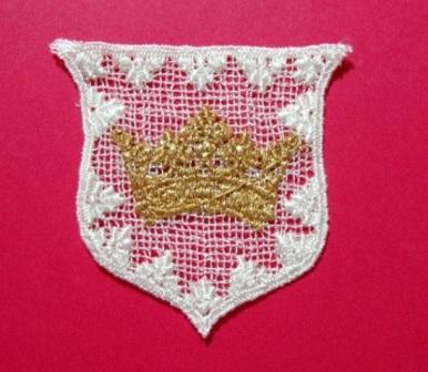 L3 White Crown Crest Venice Lace Applique