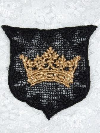 L3 Black Crown Crest Venice Lace Applique