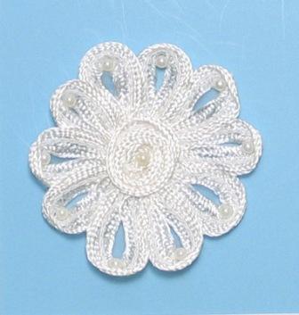"E3712  Ivory Flower Corded Lace Applique 3"""
