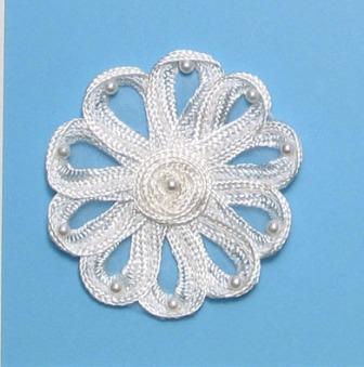 "E3712  White Flower Corded Lace Applique 3"""
