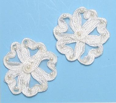 """E3713  Ivory Flower Corded Lace Mirror Pair Appliques 2.25"""""""