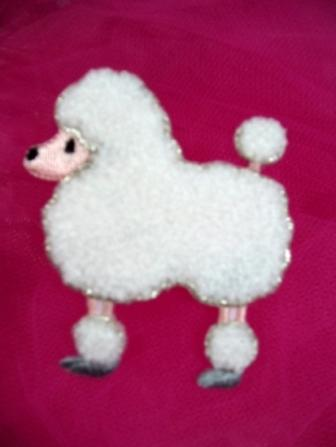 C721005  Chenille Iron on White Poodle Dog Applique 2.5""