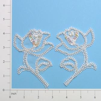 """E446  Pearl Rose Mirror Pair Sequin Beaded Applique  4.5"""""""