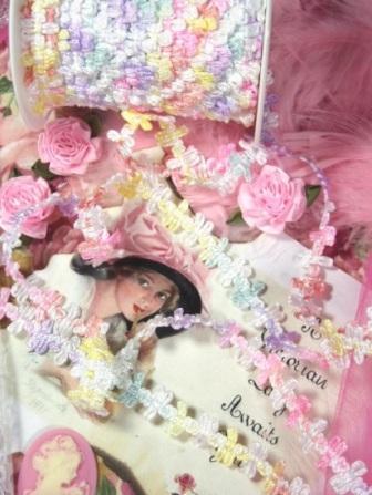 """L48  Pastel Multicolor Rococo Braid Sewing Trim 1/2"""""""