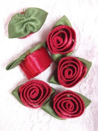 L51  Set of ( 6 ) Cinnamon Ribbon Rose Flower Appliques