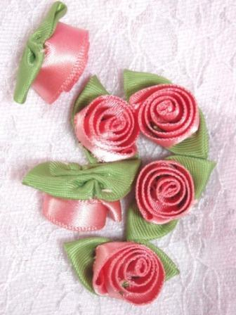 L51  Set of ( 6 ) Pink Peach Ribbon Rose Flower Appliques